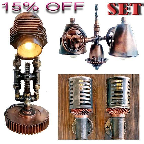 Rustic table lamps, Steampunk industrial lamp, Night lamp, Wall lamp, Vintage industrial chandelier, Vintage industrial lamp shades