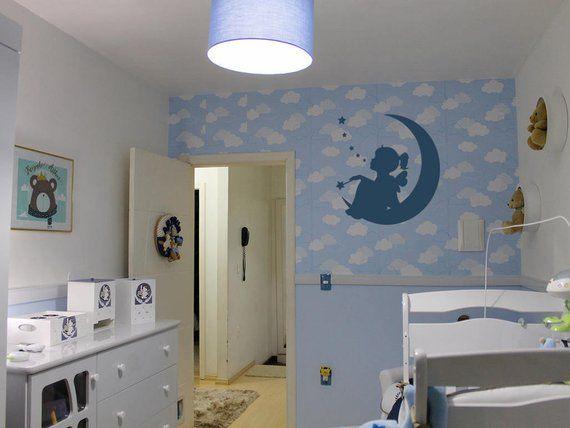 Nursery Wall Decal Sticker Wall Art With Fairy Girl On The Moon