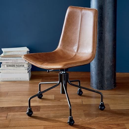 Brown Leather Wood Office Chair
