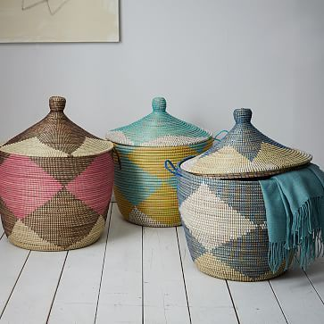 Great Graphic Printed Oversized Basket, Mint/White/Yellow