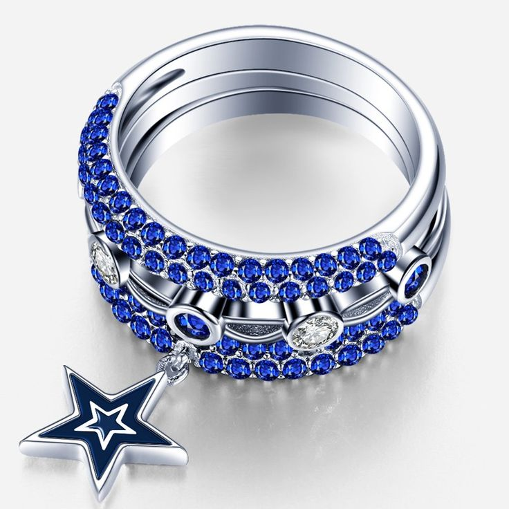 (Processing Time: 30 Working Days)Unique CZ Inlaid Dallas Cowboy 925 Sterling Silver Three Piece Ring Set
