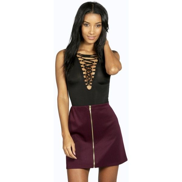 Boohoo Louella Scuba Zip Front A Line Mini Skirt (£13) ❤ liked on Polyvore featuring skirts, mini skirts, berry, front zip skirt, bohemian skirts, short mini skirts, a line mini skirt and a line midi skirt