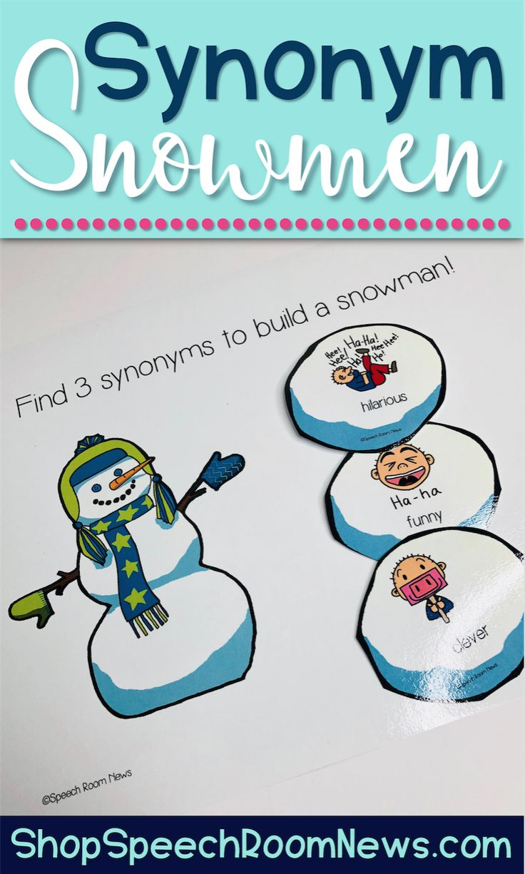 Snowman Synonyms is a snowman building activity to be used in speech therapy or ELA centers. This packet features two levels of difficulty. Students lay out the snowballs on the table. Level 1 snowballs feature drawings and words. Level 2 snowballs contain only the words. Students each use a mat to work to build their snowman. The 3 matching snowballs will contain 3 different shades of meaning terms (ie: clever, funny, hilarious).