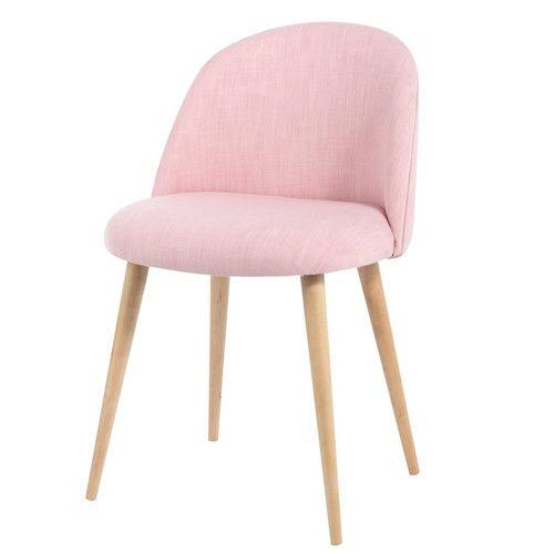 Chaise vintage enfant en tissu et bouleau massif rose
