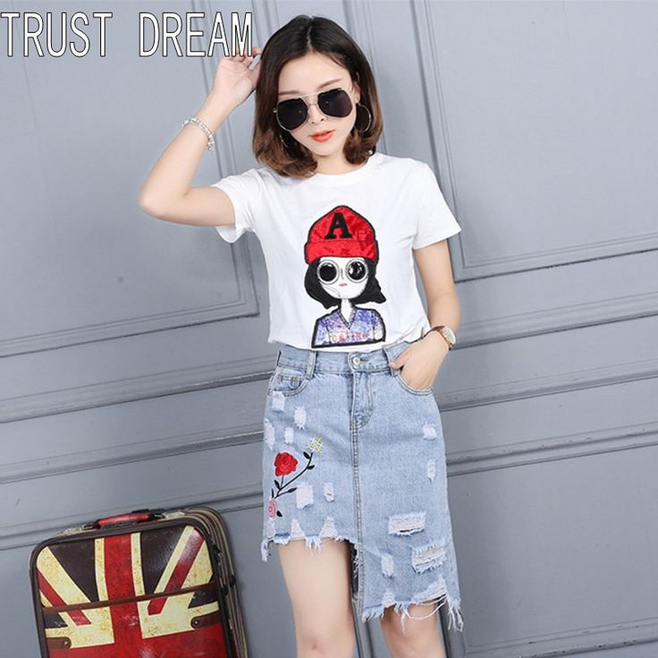 TRUST DREAM Europeans Style Women Slim Asymmetrical Hole Denim Skirt Ripped Hole Female Quality Street Summer Jeans Skirt ** This is an AliExpress affiliate pin.  Click the image for detailed description on AliExpress website