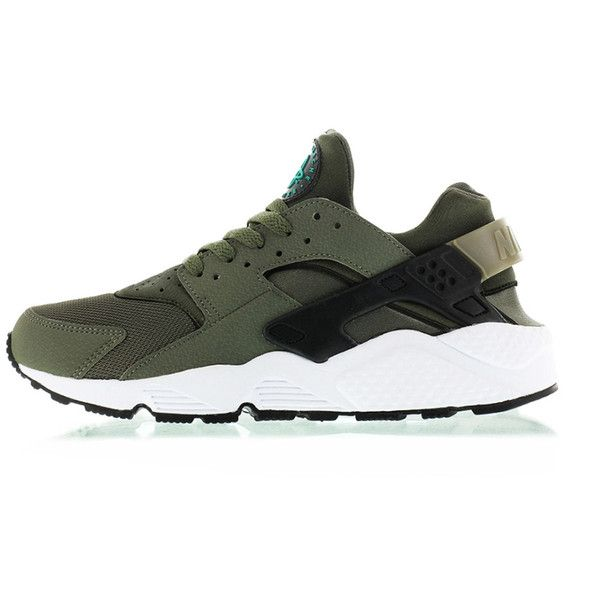 """Nike Air Huarache """"Iron Green"""" ❤ liked on Polyvore featuring shoes, huaraches, sneakers, nike, nike footwear, nike shoes and green shoes"""