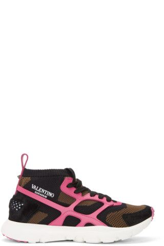High-top grained calfskin, suede, and mesh sneakers colorblocked in brown,  black, and pink. Round toe. Lace-up closure in black. Elasticized rib knit  collar ...