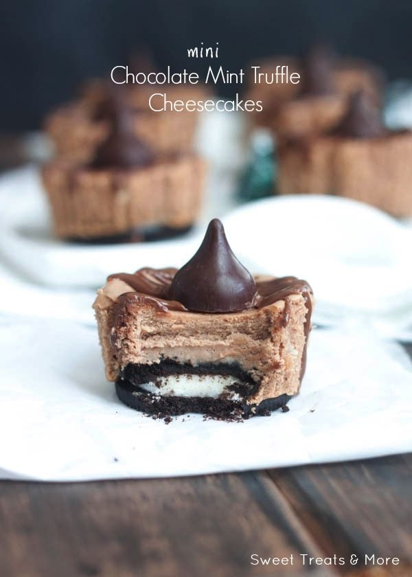 Mini Chocolate Mint Truffle Cheesecakes