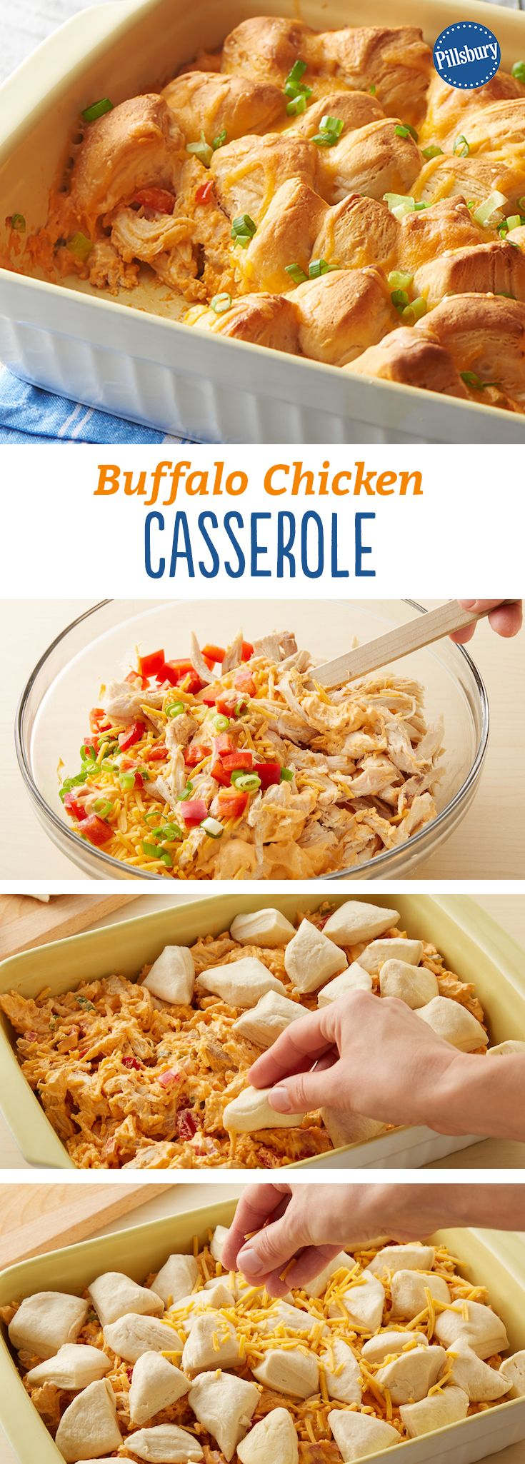 This creamy and craveable Buffalo chicken casserole doubles as a game day app (with built-in dippers!) or an easy weeknight dinner.