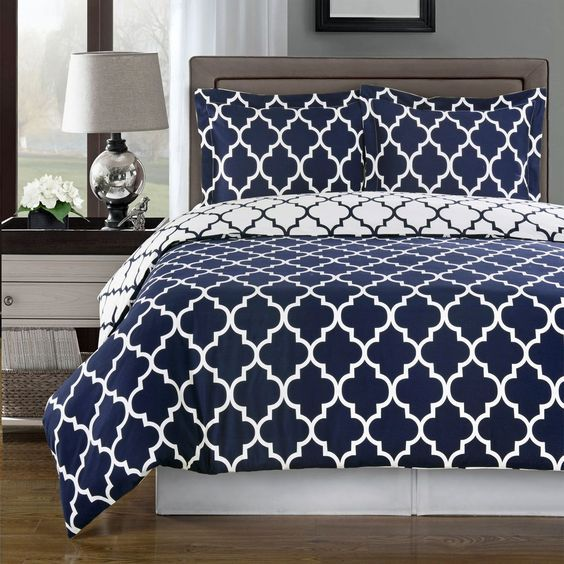 Meridian Navy And White Contemporary Duvet Cover Set 100% Cotton 300 Tc