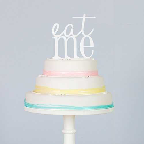 #rockmycake with Marks & Spencer | Eat Me Cake Topper and pastel pink, lemon & mint green ribbon | DIY | Budget Friendly Wedding Cake Ideas |