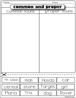 common and proper nouns-Freebie could sort and WRITE instead of cut?