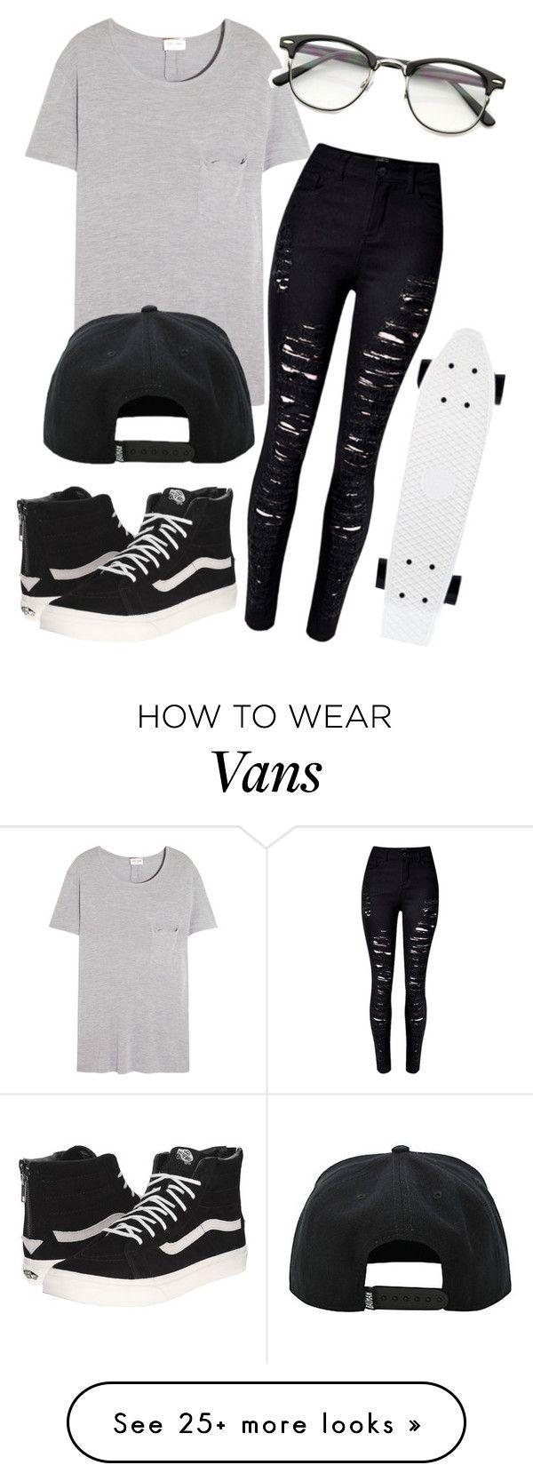 Black outfit: Camiseta básica + jeans rotos + Vans + penny + gorra