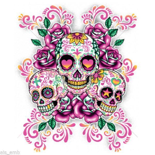 Sugar Skull Floral HEAT PRESS TRANSFER for T Shirt Sweatshirt Quilt Fabric 752e