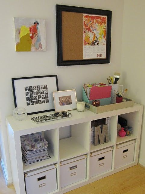 office organization by rosella. Clean and easy access for home office.