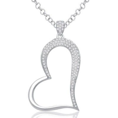 10K White Gold Fashionable Heart Shaped Pendant