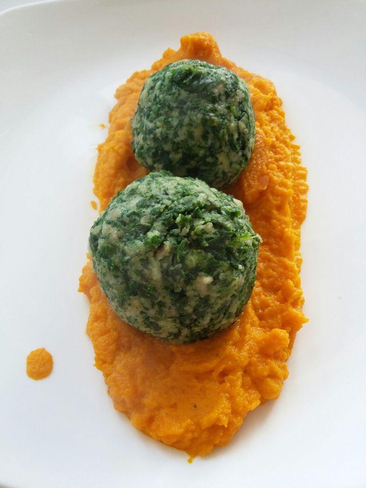 Spinach canederli and kurkuma carrots cream