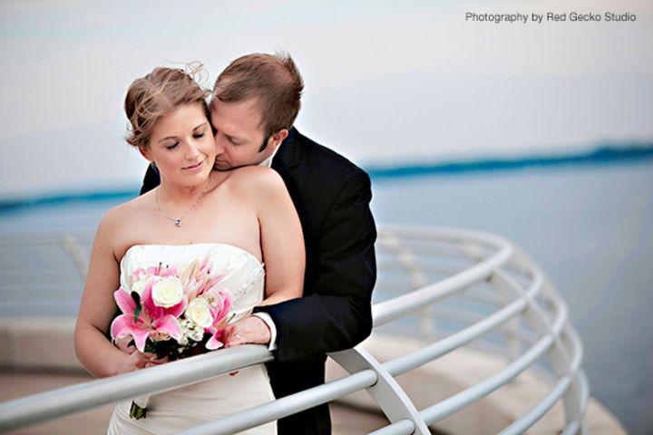 Lake Monona always adds to the beauty of wedding photos at Monona Terrace