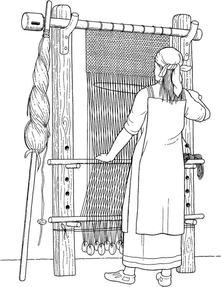 A Viking woman working at a warp-weighted loom using wooden weaver's sword to beat the weft.