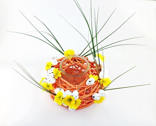Stroik Wielkanocny ze szklaną osłonką Pomarańcz