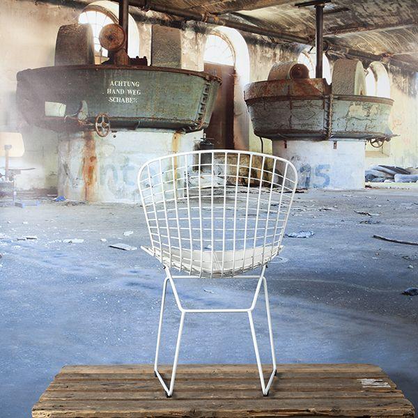 Bertoia eetkamerstoel-draadstoel wit met wit kussen Eetkamerstoelen Een trendy draadstoel van een degelijk en strak design.
