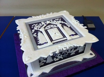 Beautiful Christmas Cake / Advanced level 3 Royal iced panel cake -- Cakes by Helen,Christchurch