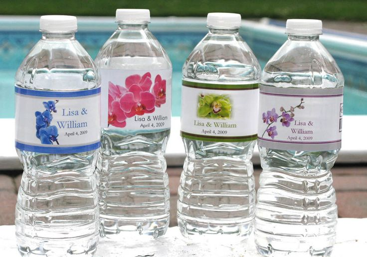 Orchid Tropical Water Bottle Labels Stickers Favors