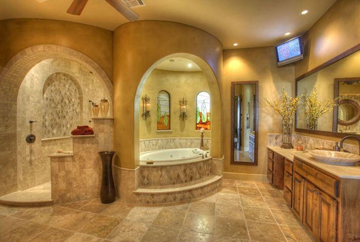 Luxury master bathroom with oasis theme. 50 Magnificent Luxury Master Bathroom Ideas ➤To see more Luxury Bathroom ideas visit us at www.luxurybathrooms.eu #luxurybathrooms #homedecorideas #bathroomideas @BathroomsLuxury