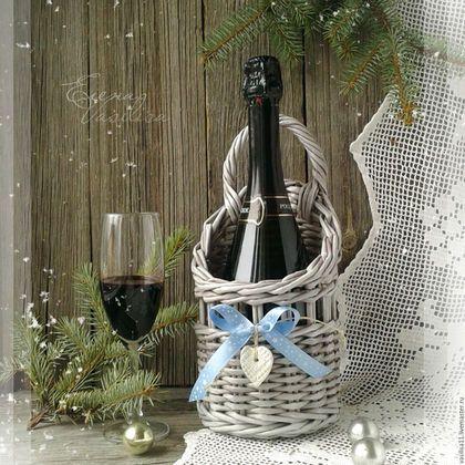 Корзины, коробы ручной работы. Ярмарка Мастеров - ручная работа. Купить Зимний Короб для шампанского, вина плетеный. Handmade. винтаж
