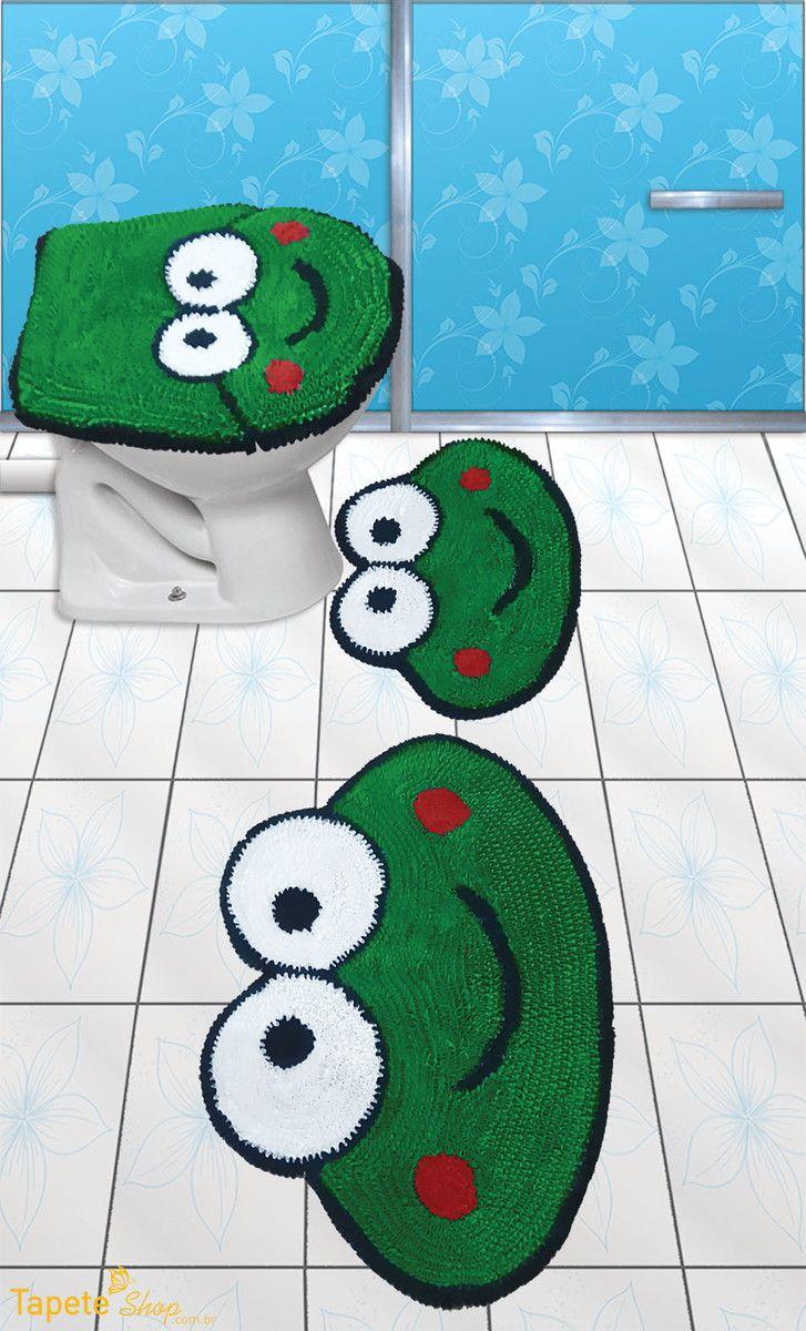 Jogo de banheiro sapo - frufru | Tapete Shop | Elo7