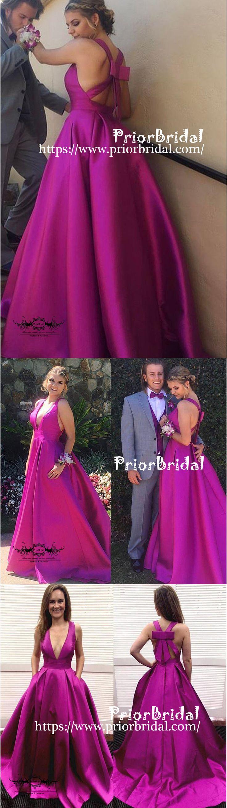 Unique Design Bowknot Back Deep V-neck Simple Purple Ball Gown Prom Dresses,PB1038