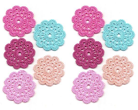 10 x Crochet Mini Doilies Handmade Crochet Embellishment Small Crochet Doilies Crochet Flowers Appliques - set of 10 Scrapbook Craft Doily