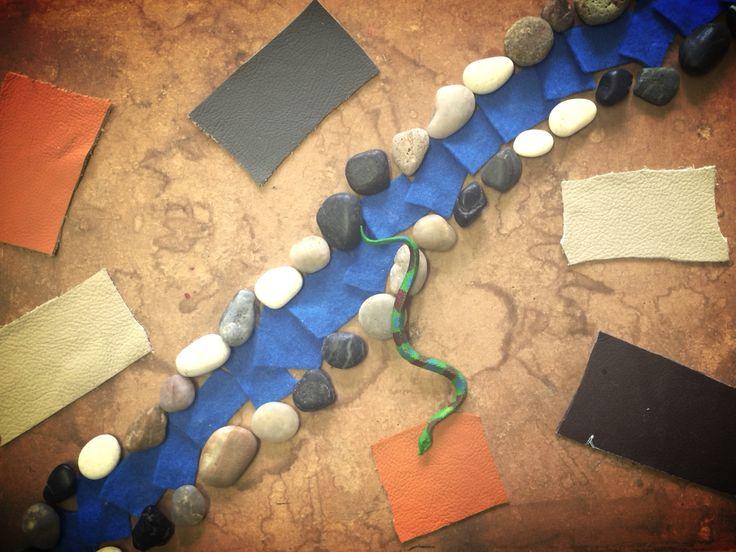 Rainbow serpent sensory board. Aboriginal dream time.
