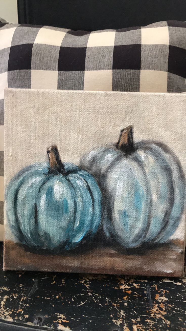 Blue pumpkin painting  Burlap painting art