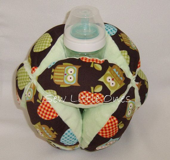 Baby Bottle Holder BallOwl with Green Background by sewlittleones, $25.00