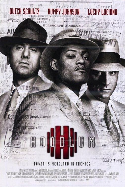 """Hoodlum Movie Poster  Director Bill Duke---If you didn't get to see this, go back and warch it now. Many things that go now are a result of how things went back in the day. Fishburne gives his usual stellar performance as """"Bumpy Johnson"""" the late gambling kngpin in Harlem in the '40's ."""
