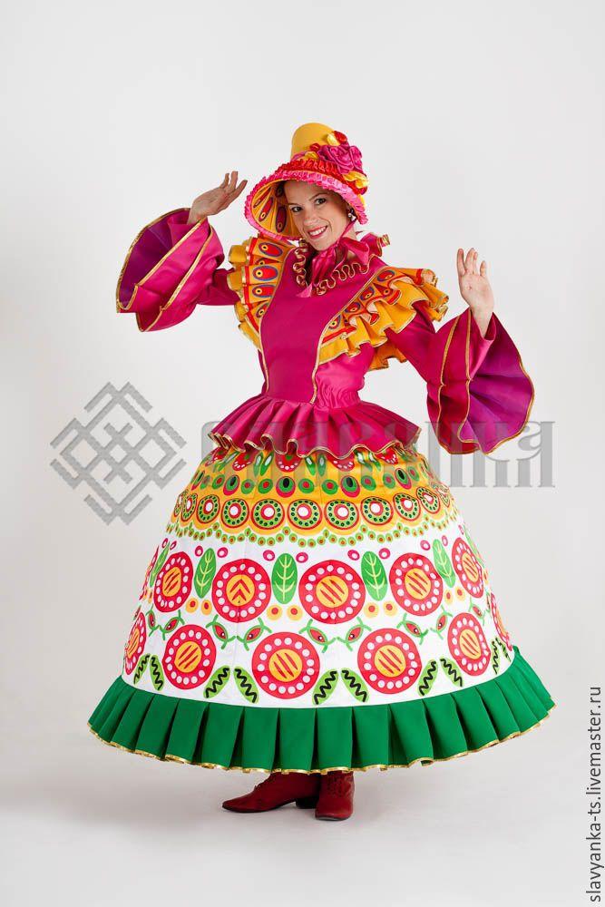 """Купить танцевальный костюм """"Дымковская игрушка Барыня"""" - орнамент, дымковская игрушка, дымка, глиняная фигурка"""