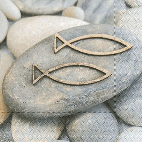 Pak van 20 servetten communie, bevestiging vis en stenen 33 x 33 cm  – Konfirmation