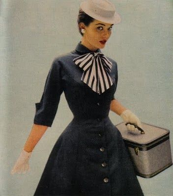 Button Front Collar Dress - 3/4 length sleeves with cuffs, tailored bodice, A line skirt, with striped bow, gloves, and pillbox hat circa 1954 - love the 'overnight kit' style small vanity suitcase