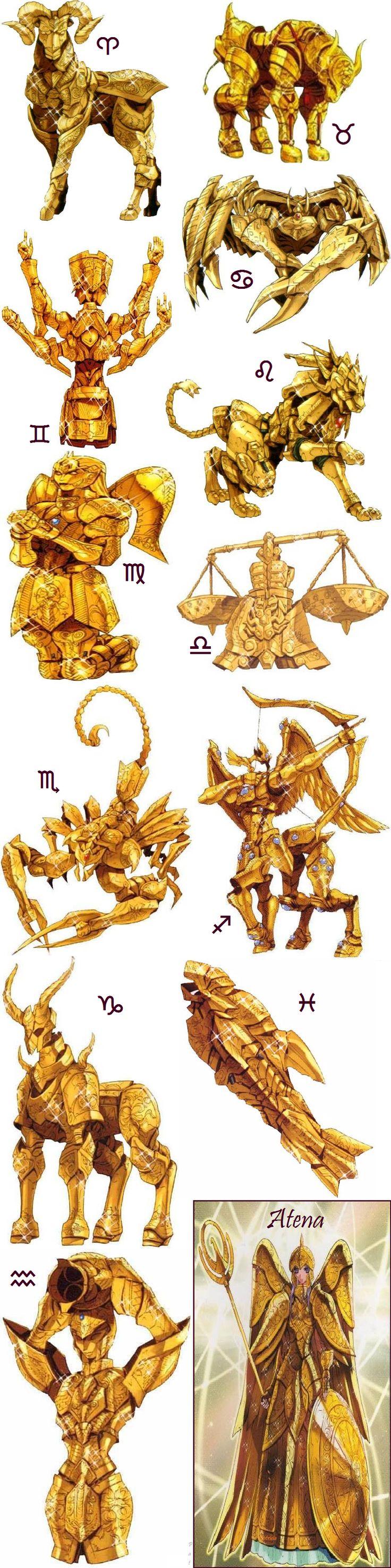 Athena en armure et les douze armures d'or du Zodiaque