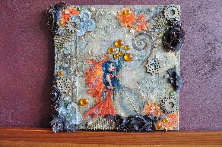 """Création Originale mixed media - Collection Noël - """"Fleur de Tonnerre"""" - 20x20cm de la boutique FairyDusk sur Etsy"""