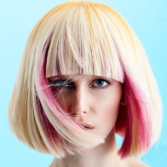 blonde with peekaboo