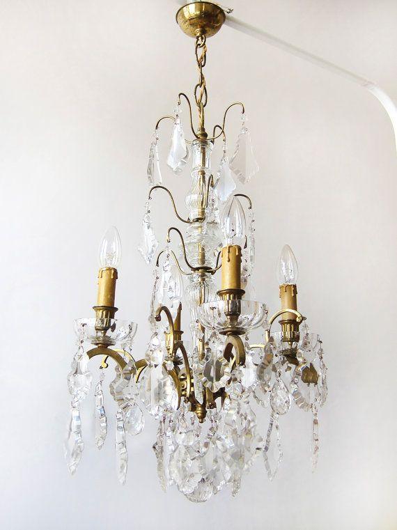 French Antique Crystal Drops Palace Chandelier / RESTORED / Paris apartment  / Art Nouveau / Vintage - 128 Best My Petit Vintage Lighting Images On Pinterest Floral