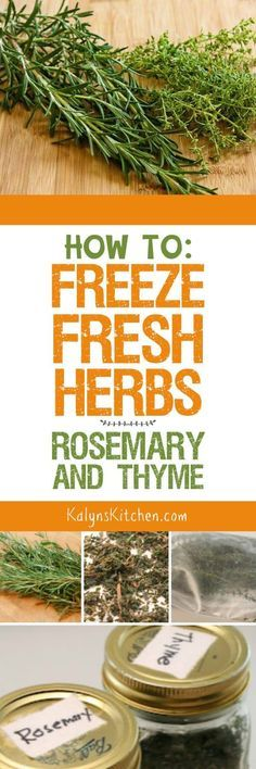If you have a garden where you're growingherbs, you'll want to read this post about How to Freeze Fresh Herbs:  Rosemary and Thyme. There's also a link to tips for freezing fresh basil as well. [found on KalynsKitchen.com]