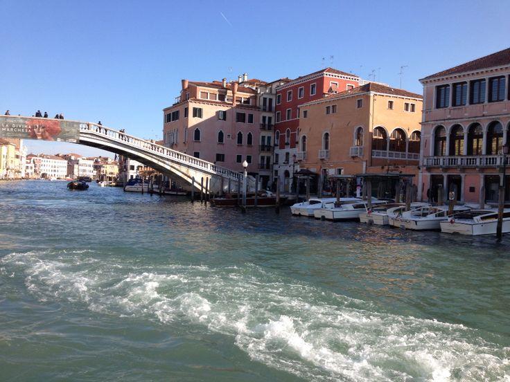 Back of the vaporetti Rialto bridge venice