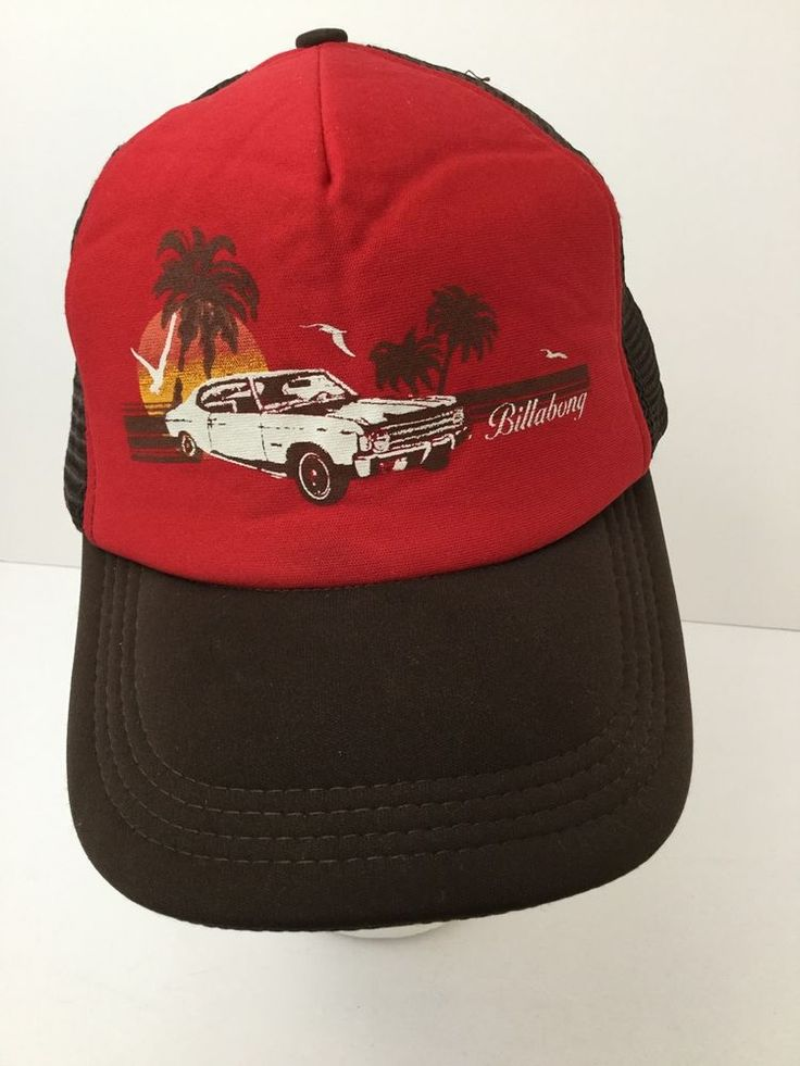 Vintage 1970's Chevy Nova Snapback Trucker Hat Sunset Palm Trees Billabong USA #Billabong #Trucker
