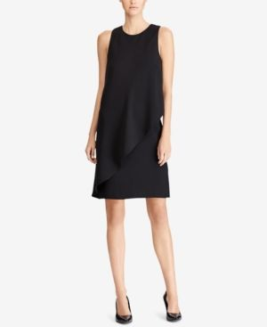 Lauren Ralph Lauren Draped Shift Dress - Black 16