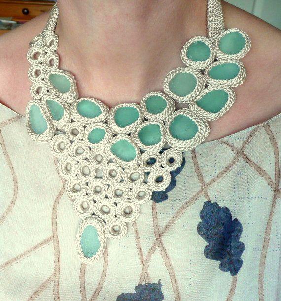 Statement bib necklace with 16 sea glass Weddings beige crochet collar OOAK bohemian beach handmade gift her autumn Europe Christmas. $160.00, via Etsy.