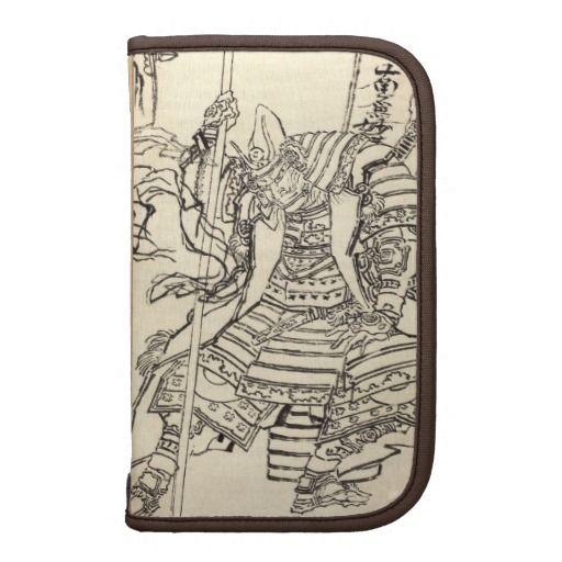 Sketch of samurai warrior  Kato Kiyomasa, Hokusai Organizer smartphone folio