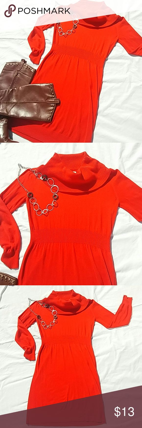 "Cute Fall sweater dress Ready for fall!🍁 EUC Great autumn color. Style with your favorite boots. 👢 length 33""from shoulder, 18"" from armpit to armpit. Great cowl neck! Minor pilling in each arm pit. Old Navy Dresses"